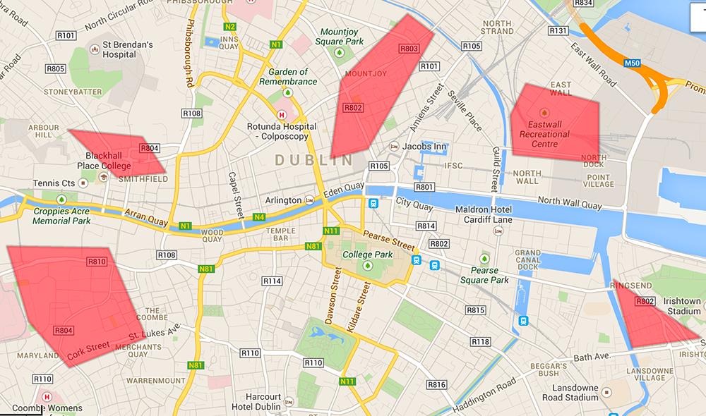 Zonas peligrosas en Dublín